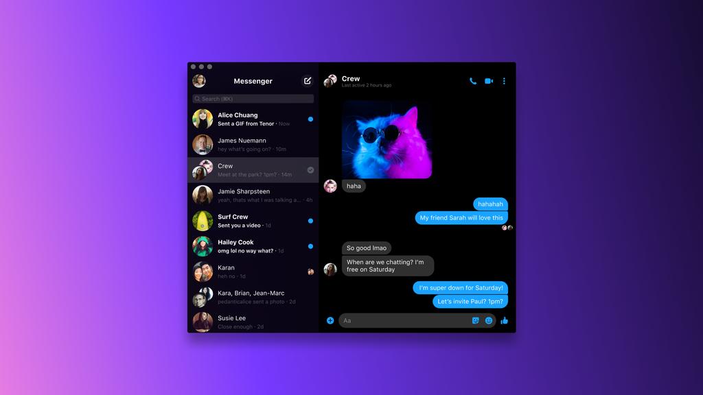 Using Facebook Messenger App on a desktop